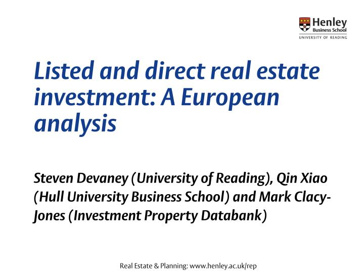 listed and direct real estate investment a european analysis n.
