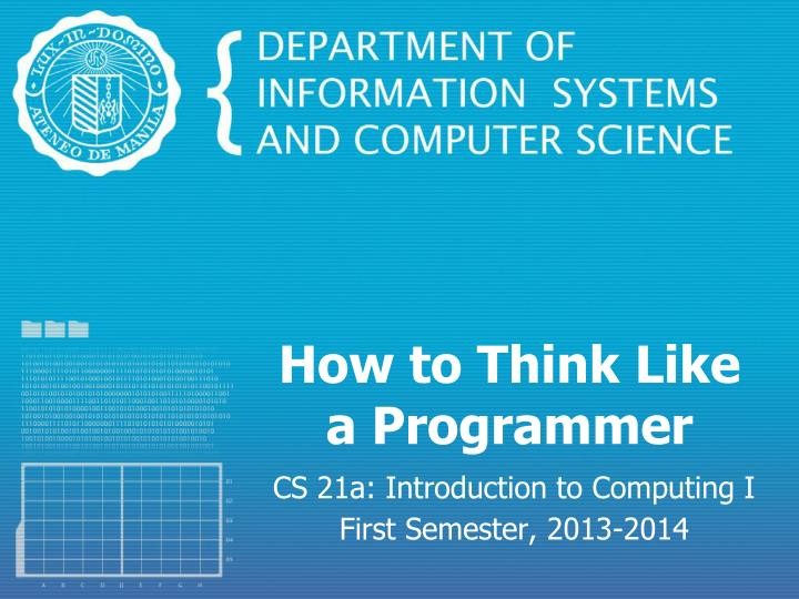 how to think like a programmer n.
