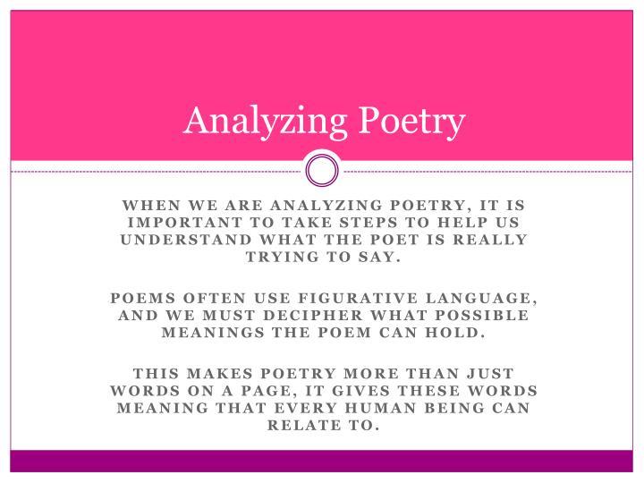 steps to analyze a poem
