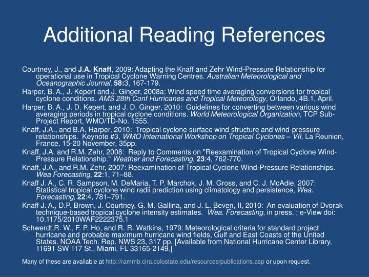 Additional Reading References