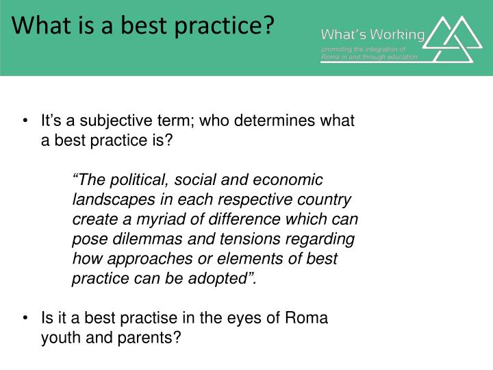 What is a best practice
