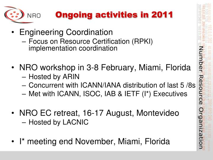 Ongoing activities in 2011