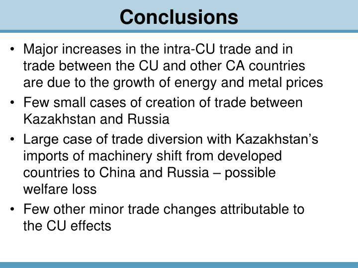 Major increases in the intra-CU trade and in trade between the CU and other CA countries are due to the growth of energy and metal prices