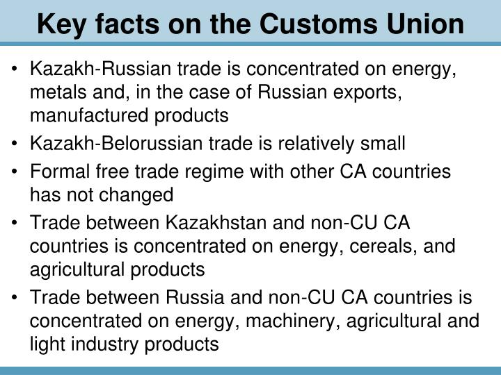 Key facts on the customs union