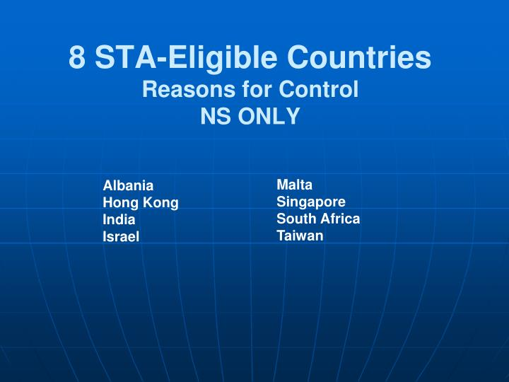 8 STA-Eligible Countries