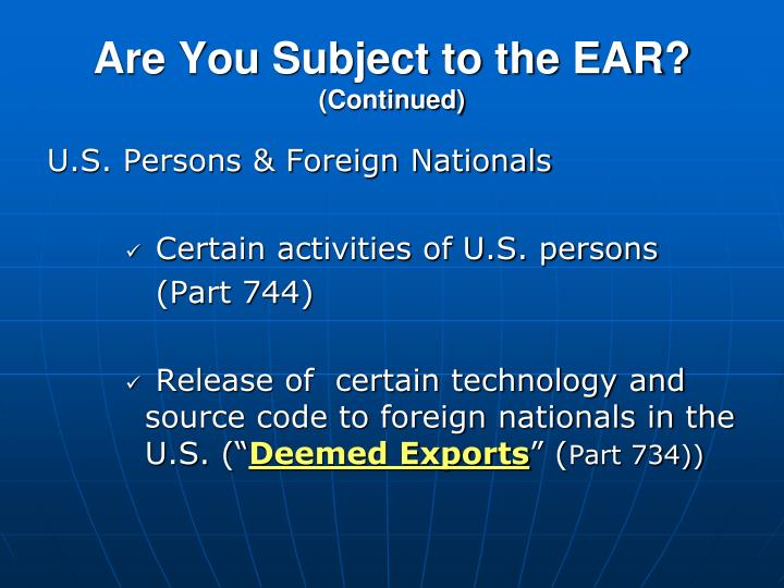 Are You Subject to the EAR?