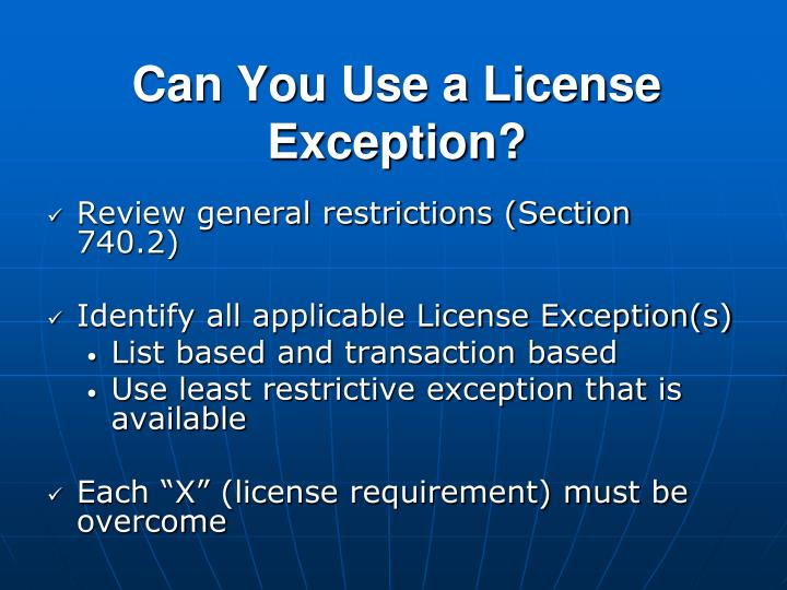 Can You Use a License Exception?