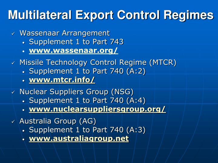 Multilateral Export Control Regimes