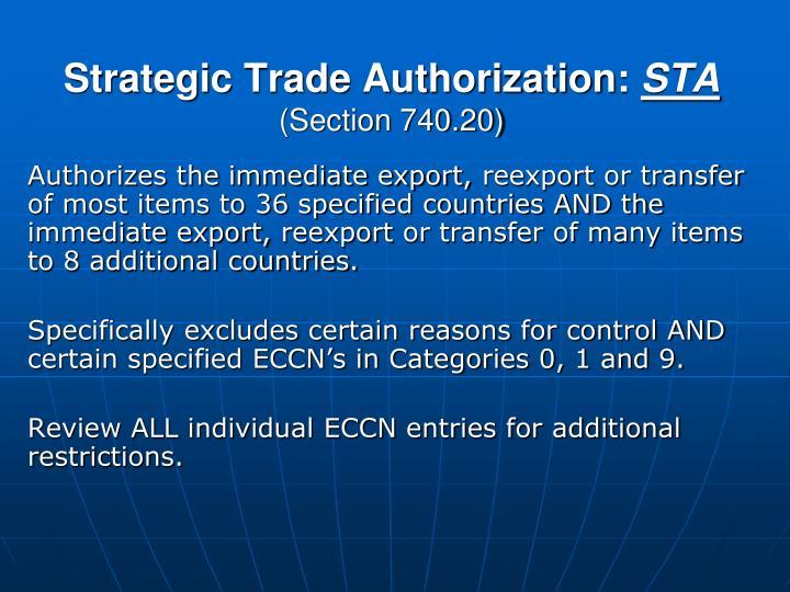Strategic Trade Authorization: