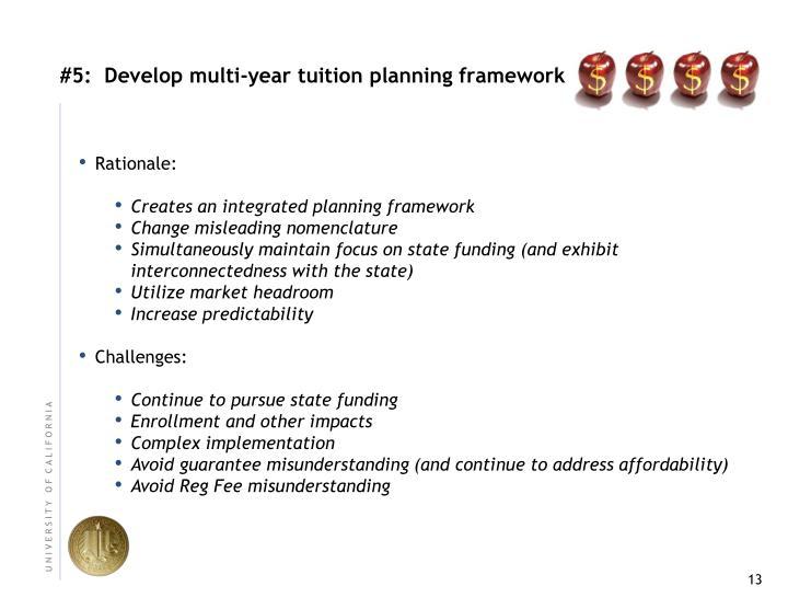 #5:  Develop multi‐year tuition planning framework