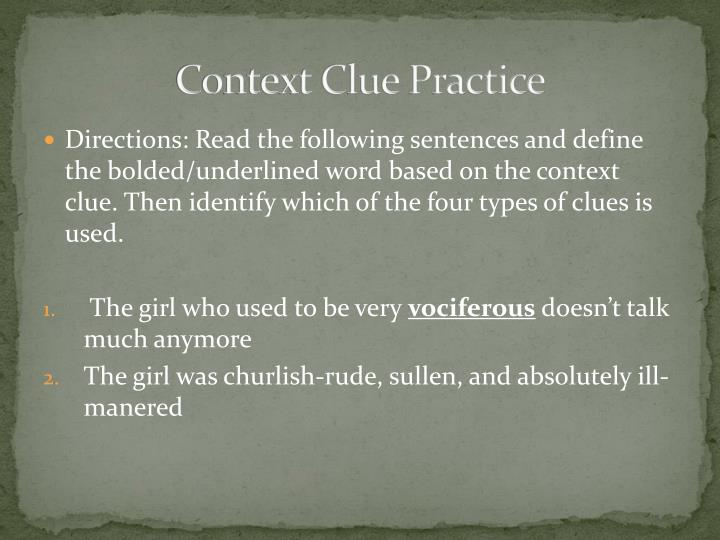 Context Clue Practice