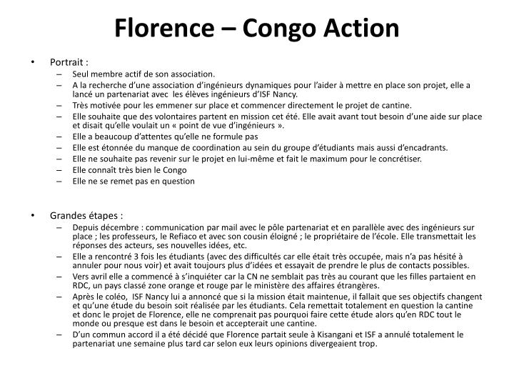 Florence congo action
