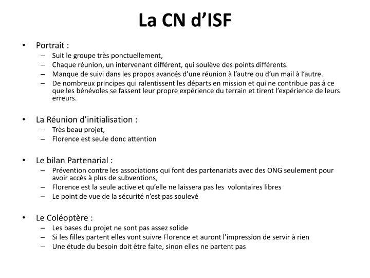 La CN d'ISF