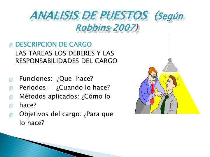 ANALISIS DE PUESTOS  (