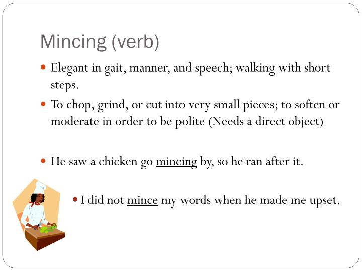 Mincing (verb)