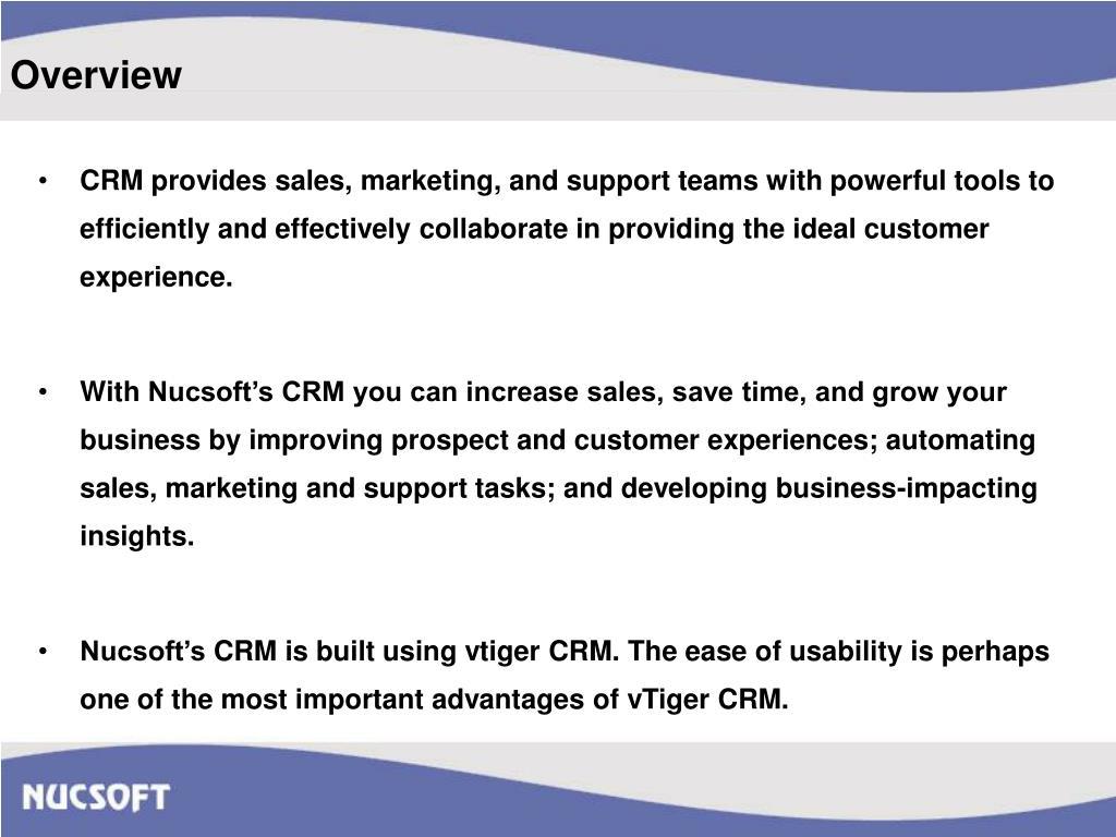 PPT - Nucsoft Customer Relationship Management PowerPoint
