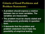 criteria of good problems and problem statements