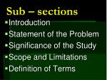 sub sections
