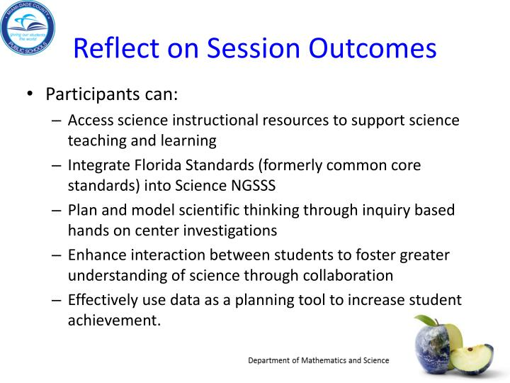 Reflect on Session Outcomes