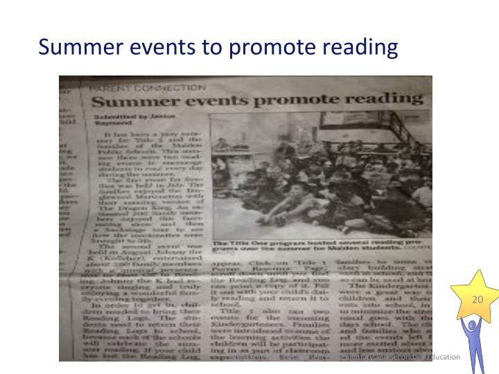 Summer events to promote reading
