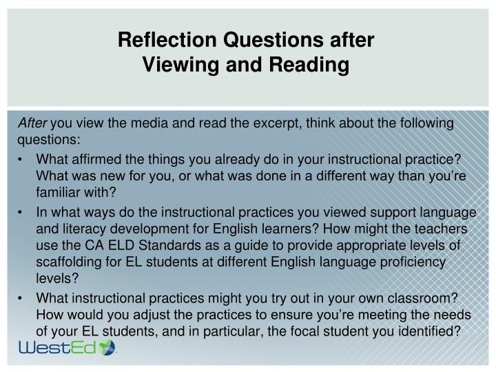 Reflection Questions after