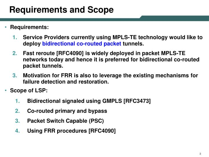 Requirements and scope