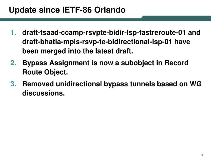 Update since IETF-86 Orlando