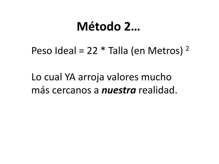 Peso Ideal = 22 * Talla (en Metros)