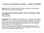 previous composition prompt grade 10 2009