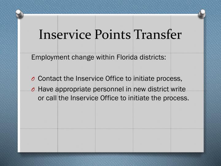 Inservice Points Transfer