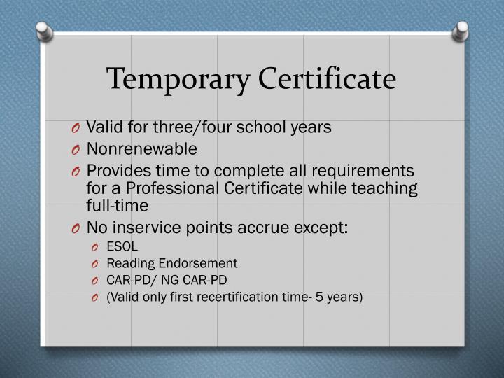 Temporary Certificate