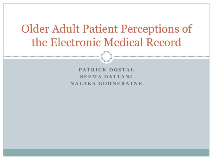 perceptions of an older adult