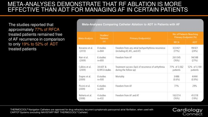 META-ANALYSES DEMONSTRATE THAT RF ABLATION IS MORE EFFECTIVE THAN ADT FOR MANAGING AF IN CERTAIN PATIENTS