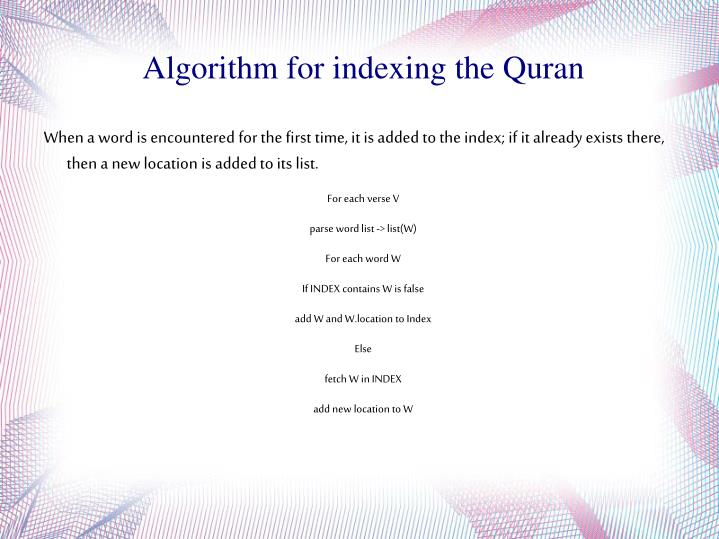 Algorithm for indexing the Quran