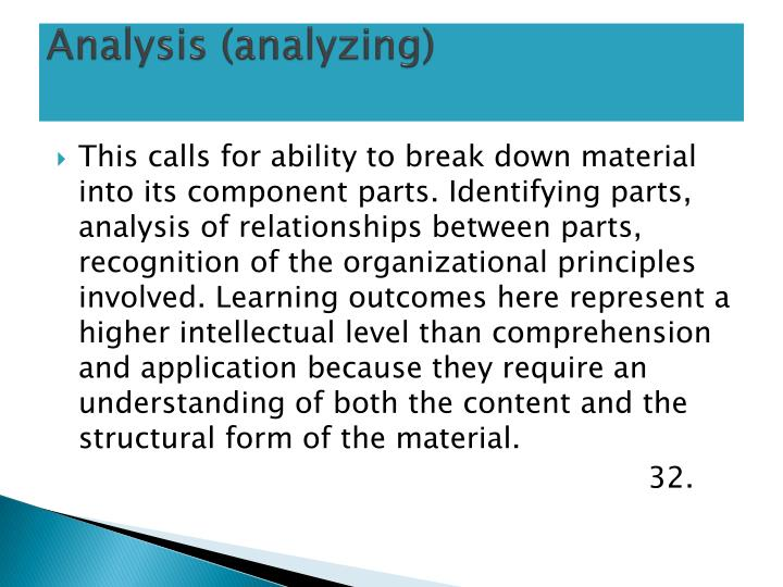 Analysis (analyzing)