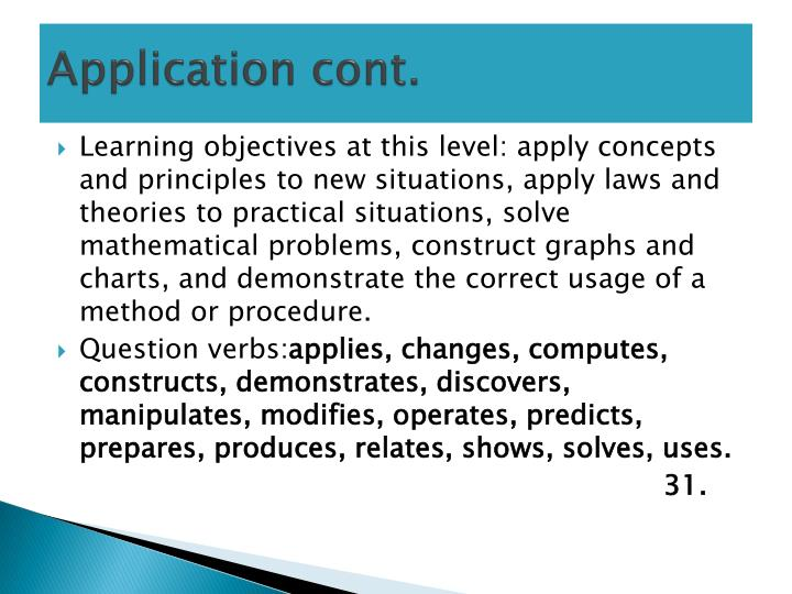 Application cont.