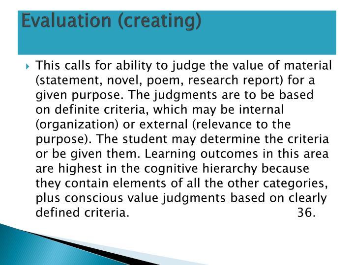 Evaluation (creating)