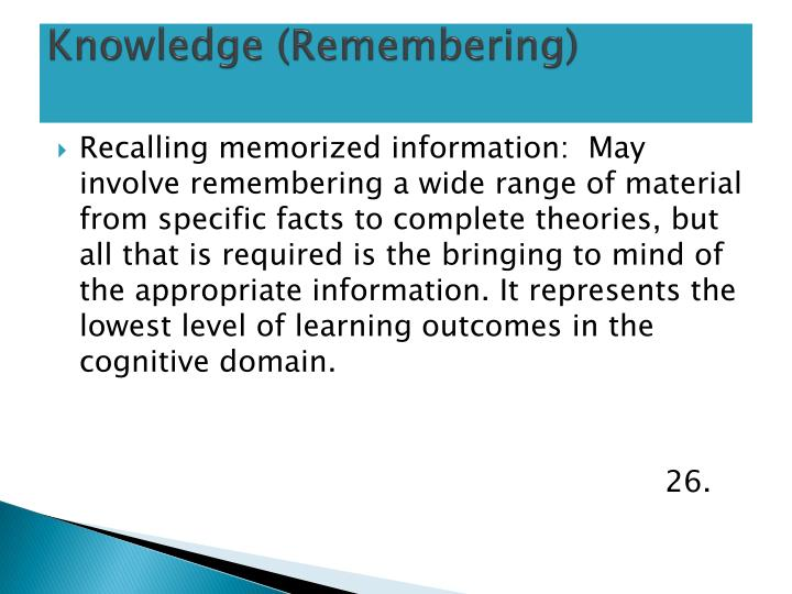 Knowledge (Remembering)
