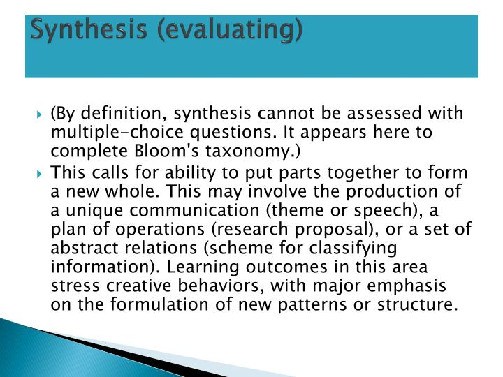 Synthesis (evaluating)