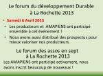 le forum du d veloppement durable l a rochette 2013