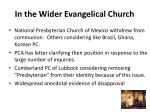 in the wider evangelical church
