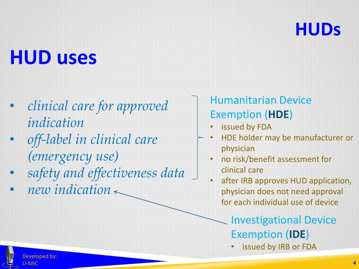 HUD uses