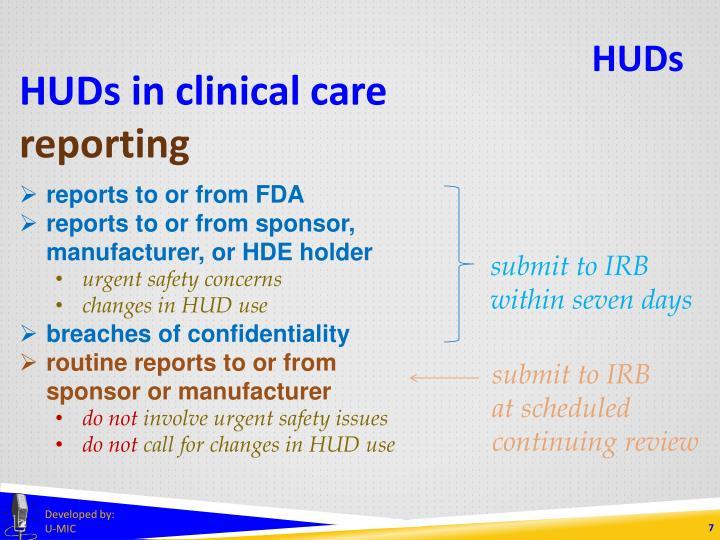 HUDs in clinical care