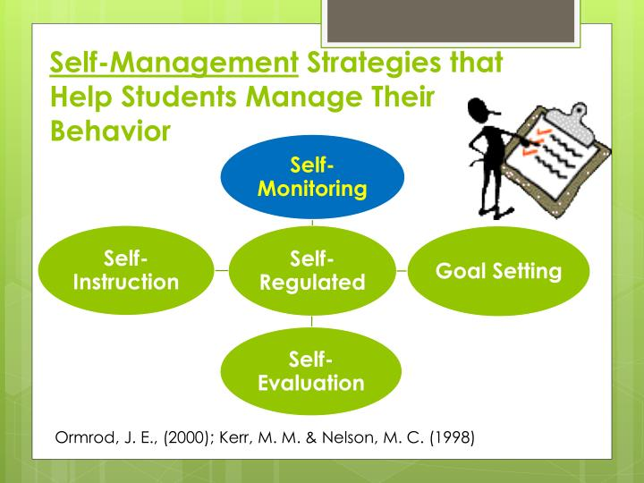 behaviour self management Self management strategies are intended to build a student's independence and ability to engage in self monitoring, self evaluation, and self-reinforcement the power of self management is its emphasis on building a feeling of control over one's own behavior.