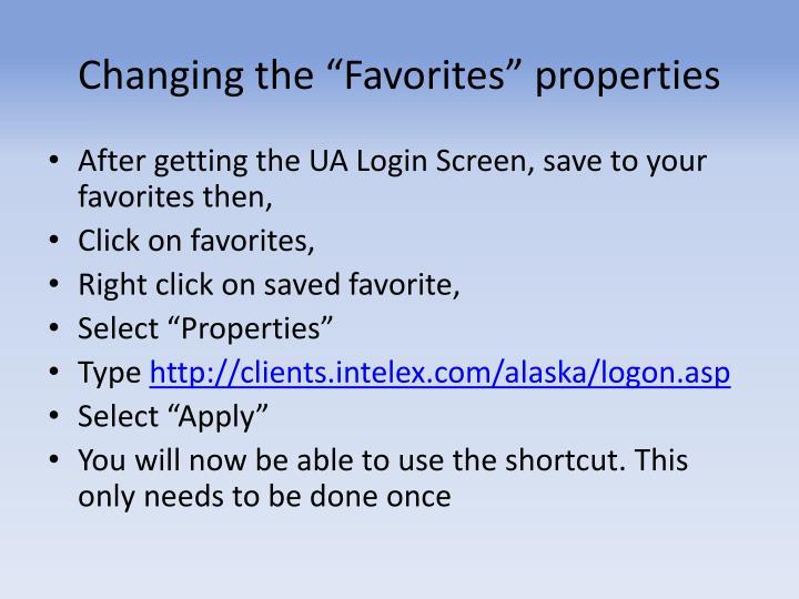 "Changing the ""Favorites"" properties"
