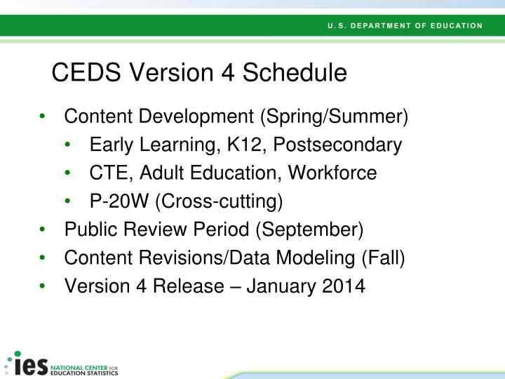 CEDS Version 4 Schedule