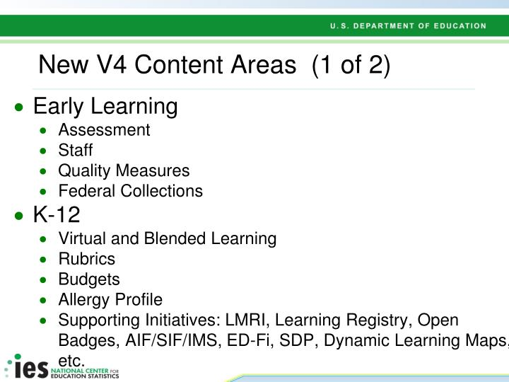 New V4 Content Areas  (1 of 2)