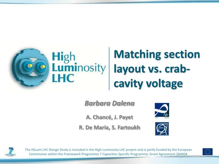 matching section layout vs crab cavity voltage n.
