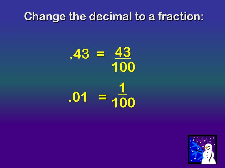 Change the decimal to a fraction: