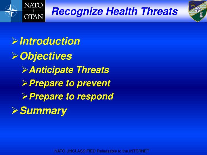 Recognize health threats